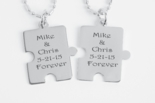 Mini Silver Puzzle Piece Necklace Set