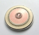 Monogrammed Pink Mother Of Pearl Circle Mirror Compact