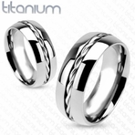 Personalized 316L Rope Twist Inlay Center Band Ring Solid Titanium