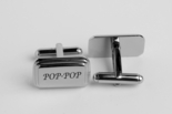 Beveled Edge Silver Cufflinks