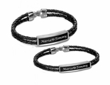 Personalized Black Leather Cord With Silver ID Plate Bracelet