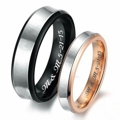 Black & Rose Gold Sweetheart Couple's Ring Set