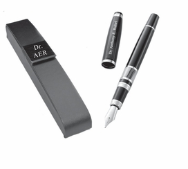 Personalized Black & White Marbleized Fountain Pen