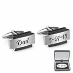 Black Accent Brushed Stainless Steel Cufflinks