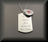 Dog Tag & Heart Medical ID Pendants Necklace
