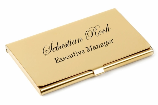Personalized Gold Business Card Holder Case Custom Engraved ...