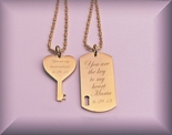 Gold Dog Tag & Heart Key Necklace Set