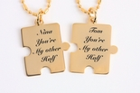 Mini Gold Puzzle Piece Necklace Set