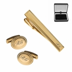 Gold Beveled Oval Cuff Link & Tie Clip Set
