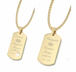 Gold His & Hers Couples Dog Tag Necklace Set