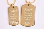 Personalized Gold Plated Stainless Steel His & Hers Couples Dog Tag Necklace Set Engraved Free