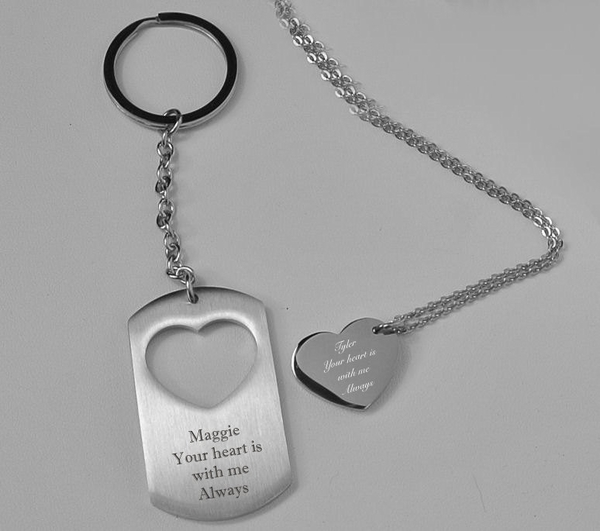 Heart Amp Dog Tag Keychain Amp Necklace Set Gt Engraved Necklaces