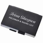 Personalized Matte Black and Silver Stainless Steel Double Sided Business Card Case Holder
