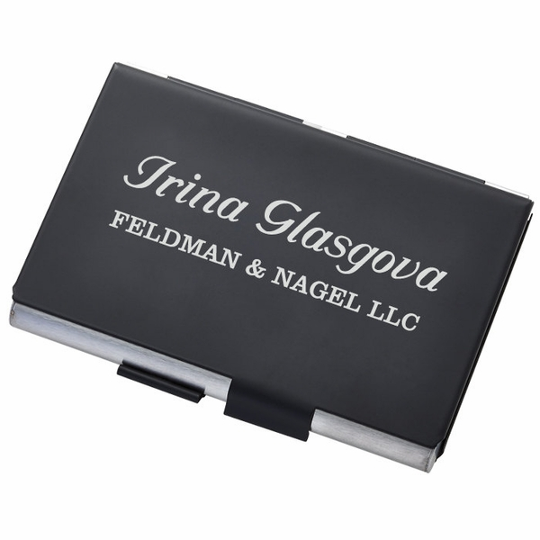 Matte black and silver double sided business card case holder matte black and silver double sided business card case holder colourmoves Choice Image