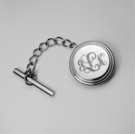 Silver Beveled Stainless Steel Tie Pin Tack