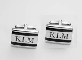 Black Accent Stainless Steel Silver Cufflinks
