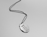 Personalized Oval Silver Necklace Engraved Free