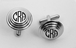 Silver Pyramid Bevel Circle Cufflinks