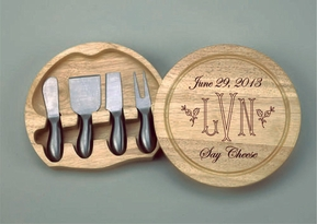 Round Wood Cheese Board w/4 Pc SS Handled Utensils
