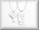 Silver Dog Tag & Heart Key Necklace Set