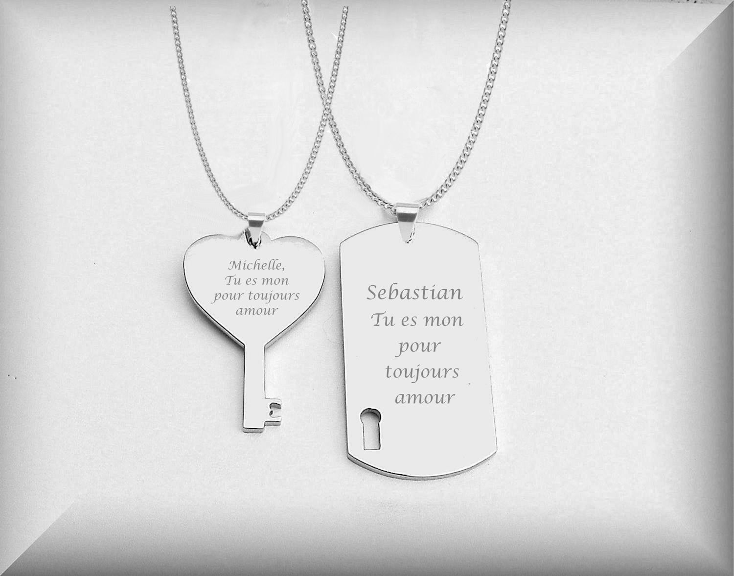 silver dog tag heart key necklace set engraved necklaces