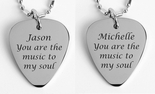 Personalized Silver Guitar Pick Set Necklace Engraved Free