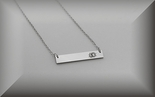 Personalized Silver Monogram Name Bar Nameplate Necklace Horizontal