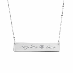 Horizontal Silver Name Bar Nameplate Necklace