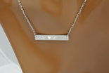 Silver Monogram Name Bar Necklace With CZ Stone Custom