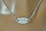 Personalized Silver Oval Pendant Necklace Engraved Free