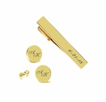 Gold Circle Cuff Link & Tie Clip Set