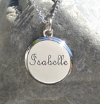 Personalized Silver Plated Circle Pendant Necklace Engraved Free
