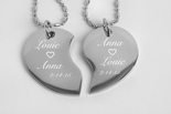 Silver Tear Drop Broken Heart Necklace Set