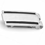 Personalized Stainless Steel Money Clip Black and Silver