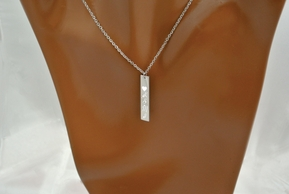 Vertical Monogram Name Bar Necklace With CZ