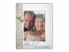 50th Anniversary Frame With Stone Ring Accent Frame