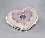 Pink Mother Of Pearl Heart Mirror Compact