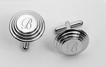 Silver Beveled Circle Cufflinks