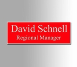Red and White Name Badge 1x3