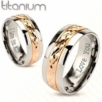 Rose Gold and Silver Couple's Ring