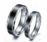 Scalloped Edge Stainless Steel Black & Silver Couple's Ring Set