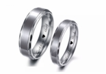 Scalloped Edge Two Tone Stainless Steel Ring Set
