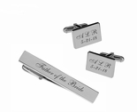 Sedona Brushed Stainless Steel Cuff Links & Tie Clip Set