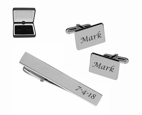 Sedona High Polished Stainless Steel Cuff Links & Tie Clip Set