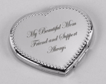 Silver Beaded Heart Compact Mirror