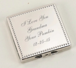 Silver Beaded Square Compact Mirror
