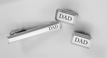 Stainless Steel Silver Beveled Cuff Link & Tie Clip Set