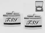 Silver Black Accent Cufflinks