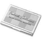 Silver Checkered Business Card Case