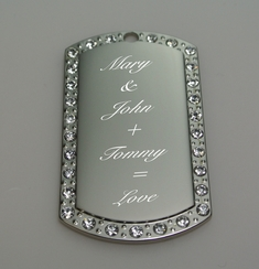 Silver Cubic Zirconia Dog Tag Necklace